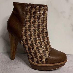 UGG Australia Maliha Brown Woven Leather Boots 7